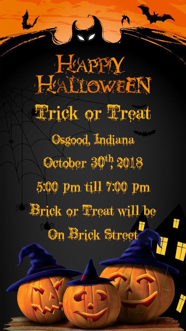 Trick or Treat Osgood, Indiana October 31st, 